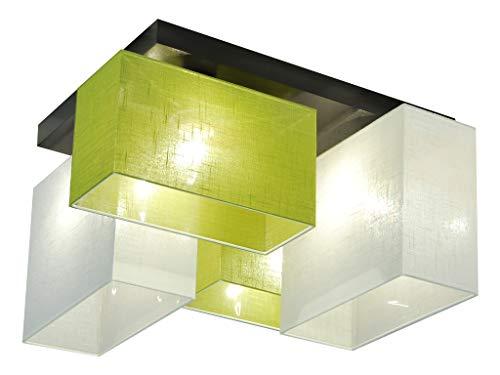 Deckenlampe - HausLeuchten JLS447WED - 4 Varianten, Deckenleuchte, Leuchte, Lampe, 4-flammig, Massivholz (HELLGRÜN/WEIß)
