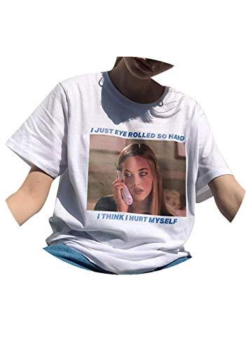 Lurcardo Damen Shirts T-Shirt Blusen Sommer Sexy Einfarbig Blumenmuster Brief Drucken Mode Tops Kurzarm Kurze Ärmel Lässiges Lose Bluse Oberteil Frauen Teenager Mädchen Hemd Pulli Pullover Tee