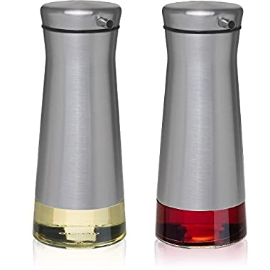 CHEFVANTAGE Olive Oil and Vinegar Cruet Dispenser Set with Elegant Glass Bottle and Drip Free Design - Stainless Steel