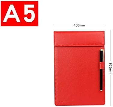 black brown red Clipboards LOFAMI Clipboards /& Forms Holders A4 A5 A6 Clipboards w//Pen Holder PU Leather Magnetic File Paper Profile Clip Board Writing Tablet Pad Mat Color : A4 black