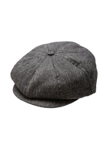 Born to Love Scally Cap Boy's Vintage Ring Bearer Pageboy Flat Ivy Newsboy Wedding Tweed Child Golf Cap Hat Black and Gray SM 2 to 3 T 52CM