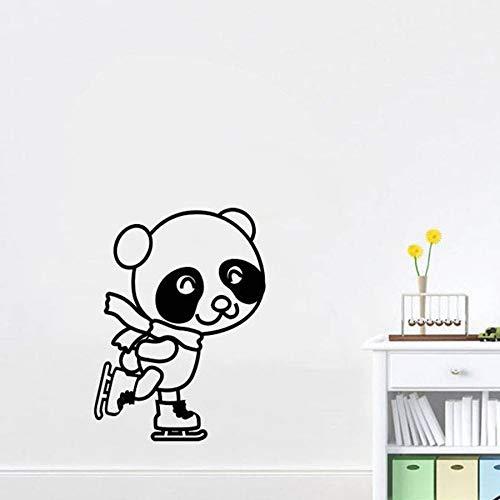 AQjept Panda de Dibujos Animados habitación de los niños Pegatinas de Pared de jardín de Infantes decoración del hogar Vinilo Pared Arte Mural Patinaje Pegatinas de pared97x129cm