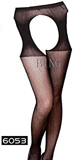 YTCM12 Summer Lady Fashion Women Stylist Fashion Ladies Lace Top Tights Stay Up Thigh High Stockings Nightclubs Pantyhose S04 (Color : Black 6053, Size : A)