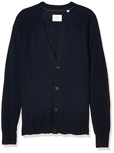Billy Reid Men's Cashmere Silk Saddle Cardigan Sweater with Leather Patches, Navy, L