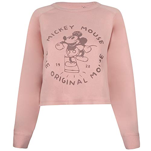Disney The Original Mouse Cropped Crew Suéter pulóver, Dusty Pink, Large para Mujer