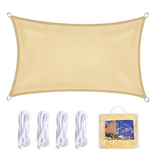 Vela de Sombra 2x4m Rectangular Toldo Vela Impermeable Protección Solar Rayos UV para Jardín Patio Terraza Balcón Exteriores Bolsa Almacenamiento Cuerdas Todo Incluído (2 * 4, Beige)