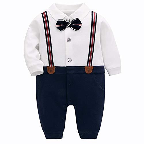 Famuka Baby Junge Smoking Taufe Hochzeit Babykleidung Neugeborenen Strampler (B, 59)
