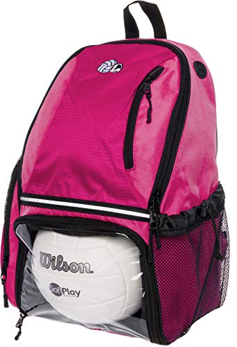 LISH Volleyball Backpack - Large School Sports Bag w/ Ball Compartment (Aqua)