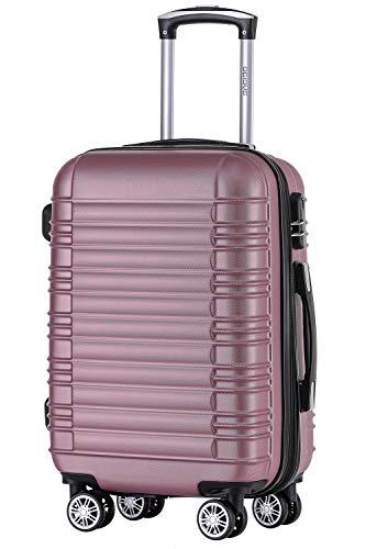 BEIBYE 2088 Zwillingsrollen Reisekoffer Koffer Trolleys Hartschale M-L-XL-Set in 13 Farben (Rosa, XL)