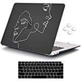 iCasso MacBook Air 13 Inch Case 2020 2019 2018 Release A2337/A2179/A1932 with Retina Display Touch ID, Durable Hard Plastic Shell Case and Keyboard Cover Compatible Newest MacBook Air 13 - Face Sketch