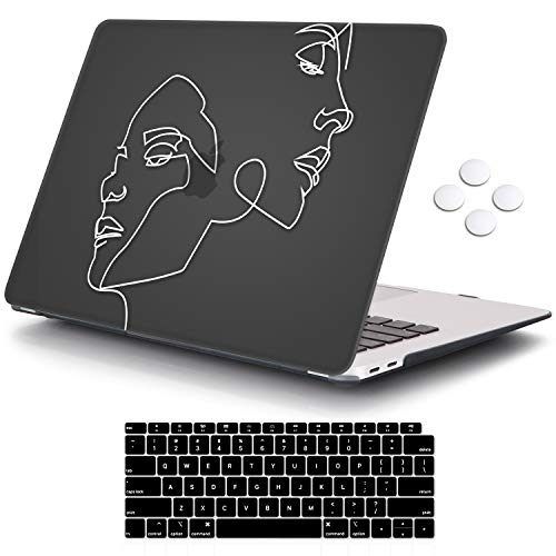 iCasso MacBook Air 13 Zoll Hulle 2020 2019 2018 Release A2337A2179A1932 mit Retina Display Touch ID Durable Hard Plastic Shell Case and Keyboard Cover Compatible New MacBook Air 13 Face Sketch