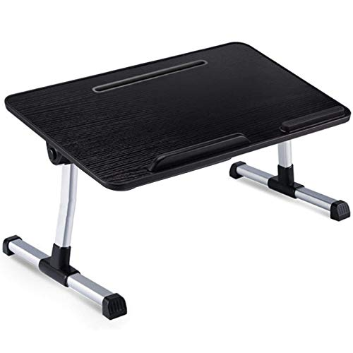 Laptop Desk for Bed, Adjustable Lap Desks Bed Trays for Eating Writing Reading Foldable Aluminum Alloy Laptop Tray Stand Table,Black