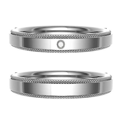[ココカル]cococaru ペアリング 結婚指輪 シルバー 2本セット マリッジリング ダイヤモンド 日本製(レディースサイズ4号 メンズサイズ11号)