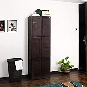 CelloNoveltyLarge Plastic Cupboard with Lock(Ice Brown)