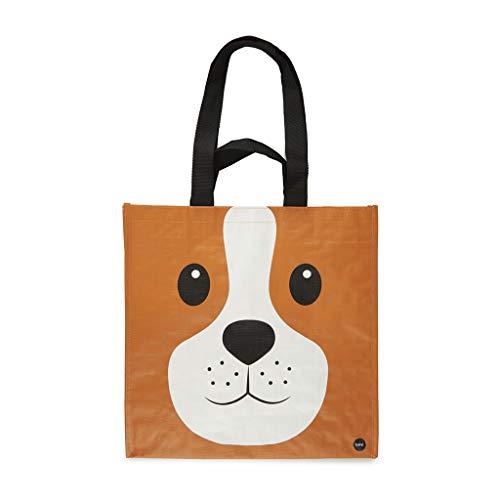 Balvi Bolsa Compra Woof Color marrón con Bolsillo Interior y Dos tamaños de Asas Diseño de Perro Plástico Reciclado 40x40x20 cm