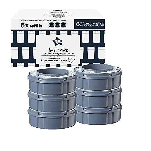 Tommee Tippee 85202303 - Recâmbios para Contenedor para Pañales Avanzado Twist and Click, Película Greenfilm Antibacteriana y Sostenible, Pack de 6, Unisex
