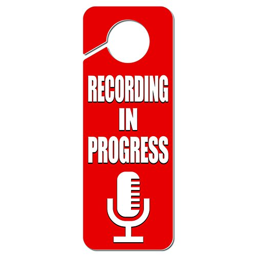Graphics and More Recording in Progress Microphone Plastic Door Knob Hanger Sign