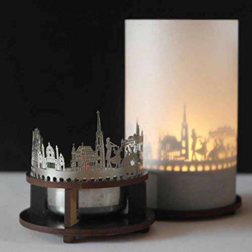 13gramm Wien-Skyline Windlicht Schattenspiel Premium Geschenk-Box Souvenir, inkl. Kerzenhalter, Kerze, Projektionsschirm und Teelicht