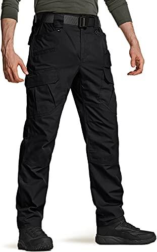 CQR Men's Tactical Pants, Water Repellent Ripstop Cargo Pants, Lightweight EDC Hiking Work Pants, Outdoor Apparel, Duratex Ripstop Mag Pocket Black, 32W x 32L