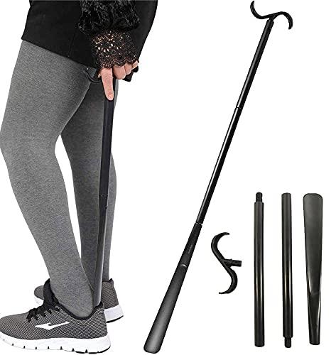 Calzador de mango largo, ayudante para discapacitados Palo de vestir, y herramienta para quitar calcetines, ajustable extendido, plástico premium, para personas mayores, discapacitados