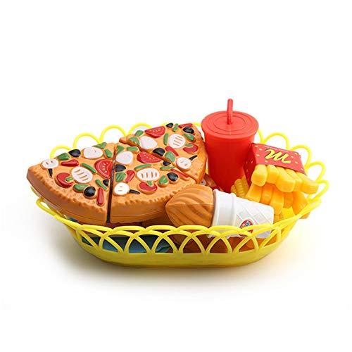 Yamyannie Bloques de Juguete El Corte de los niños Fruta del alimento de la Hamburguesa Pizza Colección de Juguetes de plástico Alimentos Accesorios de Cocina (Edition : Random Combination of Pizza)