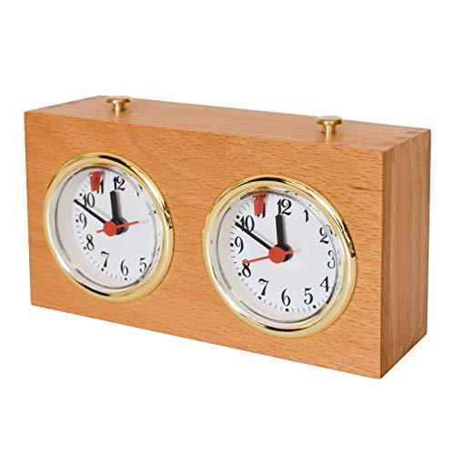 HARMONÉ Reloj de Ajedrez Profesional Analógico de Madera con Segundero, Temporizador Ajedrez Clásico