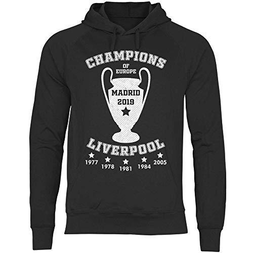 wowshirt Herren Hoodie Liverpool Trikot Champions Madrid 2019 Jürgen Klopp, Größe:M, Farbe:Black