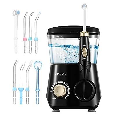 ATMOKO Water Dental Flosser Oral Irrigator 600ml with 8 Multifunctional Jet Tips, 3 Min Timer