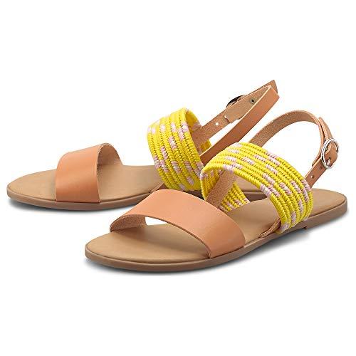 Cox Damen Trend-Sandale Gelb Glattleder 39