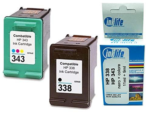 Cartucho reconstruido Inklife compatible con HP 338 negro y HP 343 color, para HP DeskJet 460, 460C, 460CB, 460WBT, 460WF, 5740 (negro + color)
