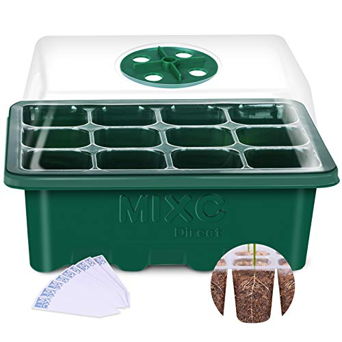 MIXC 10-Pack Seed Trays Seedling Starter Tray, Humidity Adjustable Plant Starter Kit with Dome and Base Greenhouse Grow Trays Mini Propagator for Seeds Growing Starting (12 Cells per Tray)