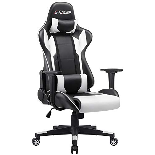 Furniwell Gaming Chair Racing Computer Chair Office Desk Chair Adjustable Swivel High Back Carbon Fiber Style Leather Executive Ergonomic Chair with Headrest and Lumbar Support (White)