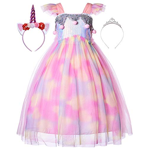 Princess Little Mermaid Ariel Costume Rainbow Unicorn Dress Up Clothes Sequin Mesh Ribbon Tutu Outfit Skirt with Tiara Headband Accessories for Toddler Girls Birthday Party Halloween 3T 4T 3-4 Years