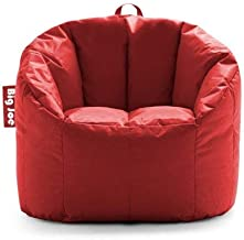 Big Joe Milano Bean Bag Chair Multiple Colors, Provides Ultimate Comfort, Great for Any Room (Fire Engine Red)