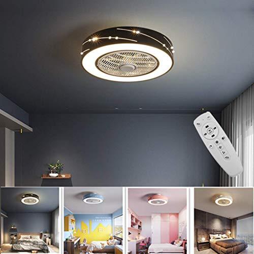 Fan Deckenventilator LED 46W Dimmbar Deckenleuchte Mit Fernbedienung Leise Deckenventilator Wohnzimmer Schlafzimmer Deckenventilator Beleuchtung Einstellbare Windgeschwindigkeit Decke Lichter,Schwarz