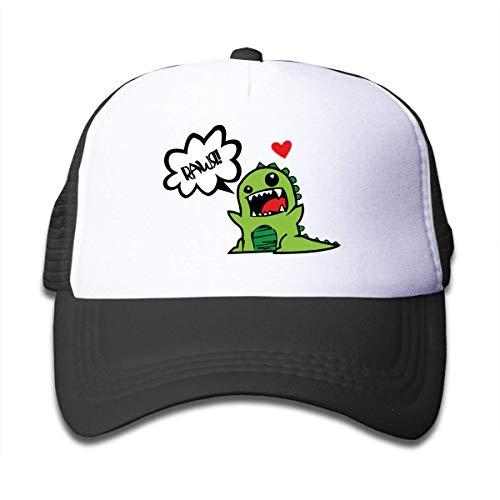 Yuanmeiju Gorras de Camionero con Estampado para nios Sombrero Deportivo de Dinosaurio Kawaii para nios Sombreros de Viaje al Aire Libre Ajustable 50-55cm Negro