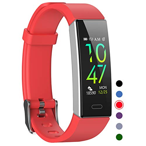 Mgaolo Fitness Tracker,Waterproof Activity Tracker with Blood Pressure Heart Rate Sleep Monitor for Android and iOS,11 Sport Modes Health Fit Smart Watch with Pedometer for Men Women Kids (Red)