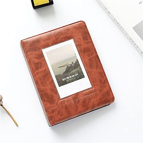 WWWL Álbum de fotos retro de 3 pulgadas, 64 bolsillos, álbum de fotos instantáneo, álbum de fotos Polaroid, estuche de almacenamiento Fuji Instax Mini 9/8/70/7s (color naranja)