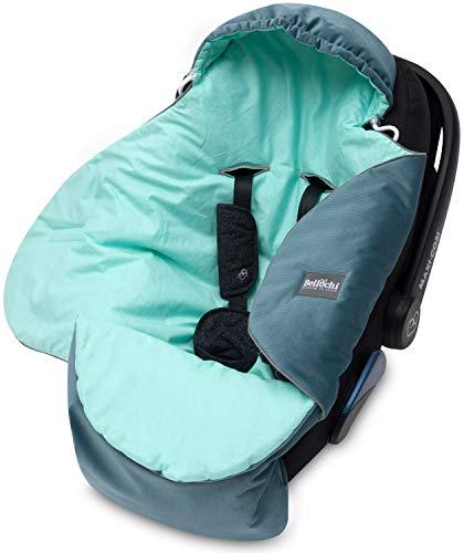Bellochi Universal Baby Einschlagdecke für Babyschale und Autositz Kinderwagendecke Fußsäck aus Baumwolle und Samt z.B. passend für Maxi-Cosi, Römer, Cybex - Mint