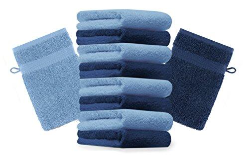 Betz Lot de 10 Gants de Toilette Premium Bleu foncé et Bleu Clair, Taille: 16x21 cm