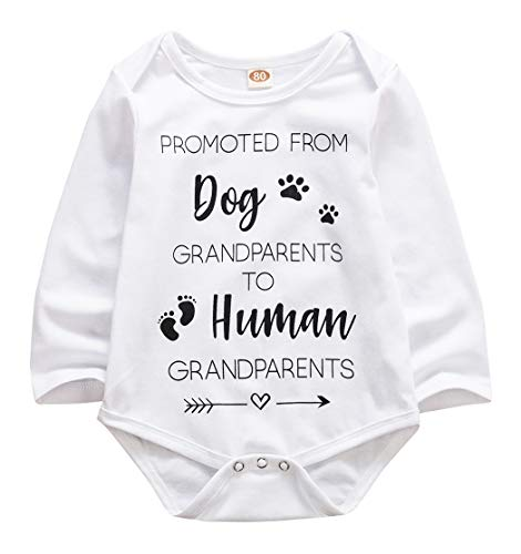 Newborn Baby GOT My Mind ON My Mommy Paws Funny Bodysuits Rompers Outfits Grey White 0-18M (Z-k Promoted from Dog?Grandparents, 3-6M)