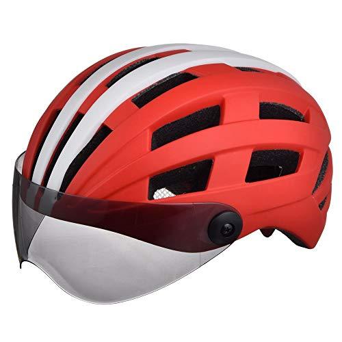 AJL Casco de Ciclismo de Bicicletas 26 ventilaciones Fluorescencia y Gafas de Gafas Racing Lightweight a Prueba de Golpes Casco Casco Equipo de equitación Blanco y Redinsect Nets.Night Bright