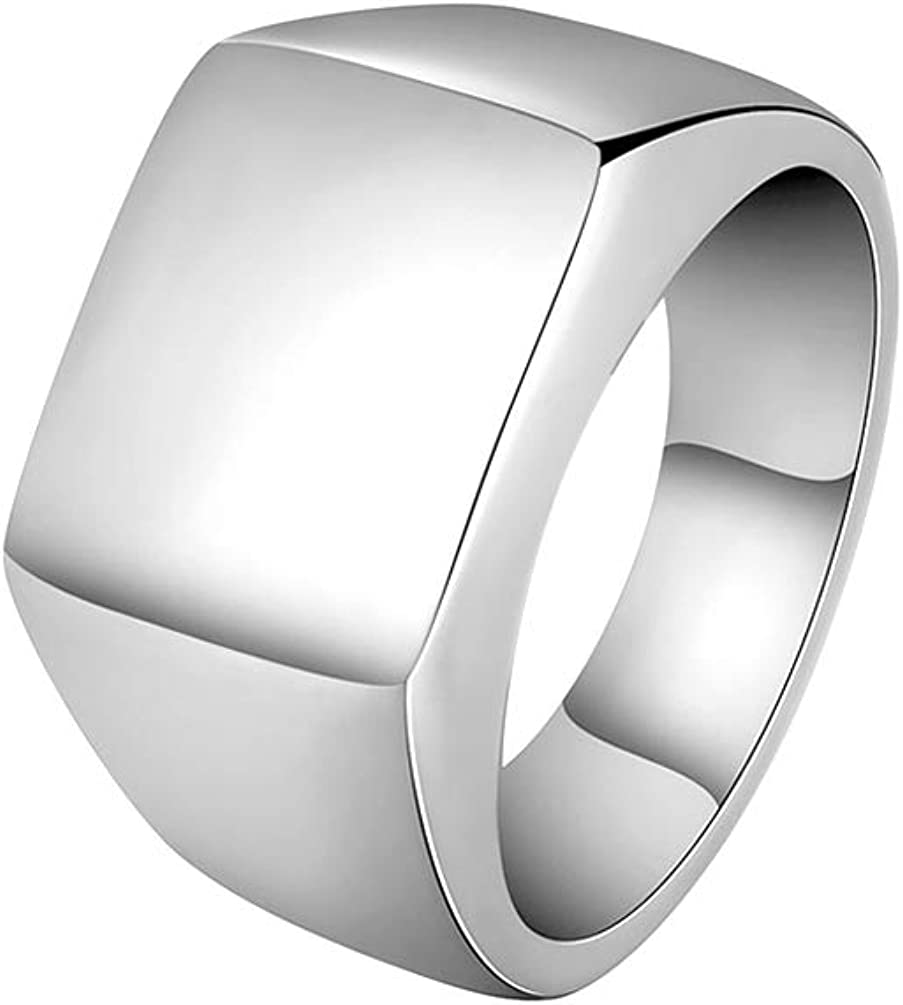 Xusamss Punk Rock Titanium Steel Square Ring
