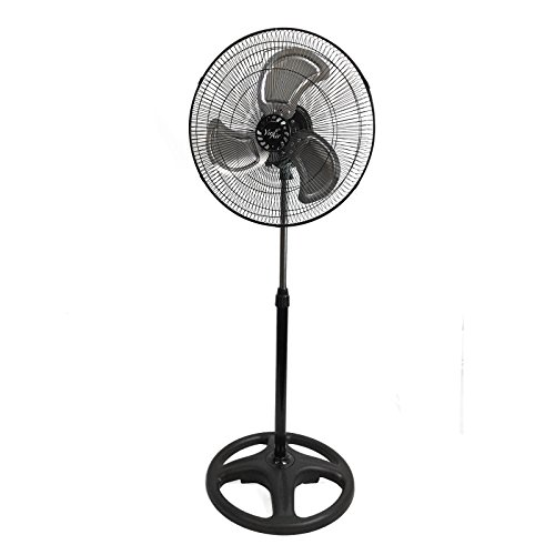 Vie Air Heavy Duty Pedestal Powerful and Quiet Oscillating Metal Stand Fan, 18 Inch, Black