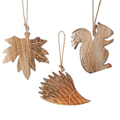 Sass & Belle Holzdekorationen, geschnitzt, 3 Stück
