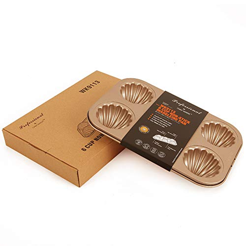CHEFMADE Madeleine Mold Cake Pan, 6-Cavity Non-Stick Spherical Scallop Madeline Bakeware,Oven BakingBaking Tray Oven Appliances Household Non-Stick Baking Tray. (Champagne Gold).