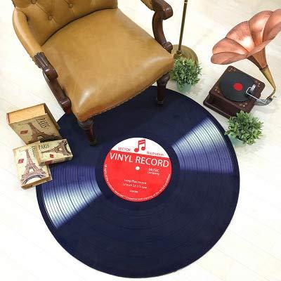 TONGXU 1Pcs Alfombra de Vinilo 3D Record Rojo/Azul Poliéster Alfombra Redonda Impresa de Piso de Tela Suave de Registro de Vinilo 100CM de Diámetro Rojo
