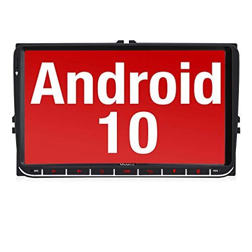 Vanku Android 10 Autoradio für Golf 5 6 Touran Polo Radio mit Navi 9 Zoll Touchscreen Unterstützt Qualcomm Bluetooth 5.0 DAB + WiFi 4G Android Auto 2 Din
