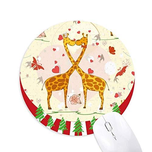 Yellow Kissing Giraffen Valentinstag Round Rubber Maus Pad Weihnachtsdekoration
