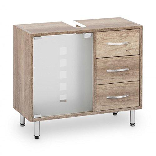 Galdem Waschbeckenunterschrank mit 3 Schubladen Glastür Bad Möbel Badschrank Gäste WC Gästebad Waschtisch Unterschrank Holz Monumental Oak
